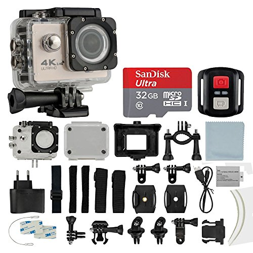 4K HD DV 16MP Sports Action Camera, (Gold) - Wi-Fi + Wrist RF + 170° Wide Angle Lens + Waterproof Case & Backdoor + SanDisk 32GB Memory Card + Bike Mount + Clip Holder + Ultimate Accessory Bundle by PHOTO4LESS