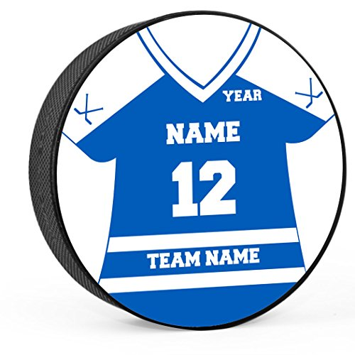 Personalized Pucks Hockey (Personalized Jersey Hockey Puck | Player & Team Hockey Award by ChalkTalk SPORTS | Royal/White)
