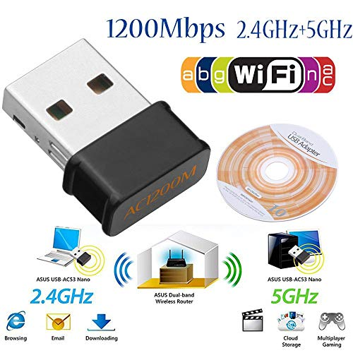 - Dual Band Wi-Fi USB Mini Adapter, Wireless Dual Band 2.4/5G 1200Mbps 802.11AC Nano USB WiFi Adapter Dongle Network Card for Laptop Desktop Win XP/7/8/10 Mac OS X