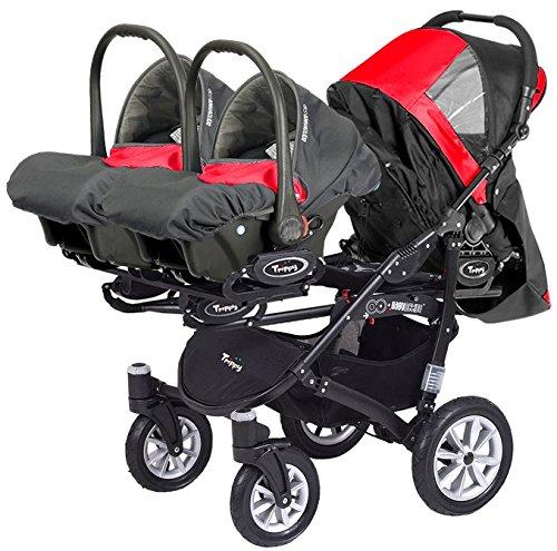 Carro trillizos. 3 capazos + 3 sillas + 3 portabebes grupo 0. Color gris+negro.: Amazon.es: Bebé