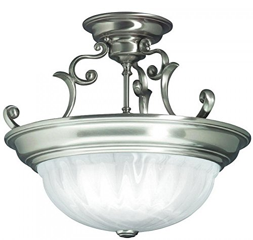 - Dolan Designs 525-09 Richland 3 Light Semi Flush mount, Satin Nickel