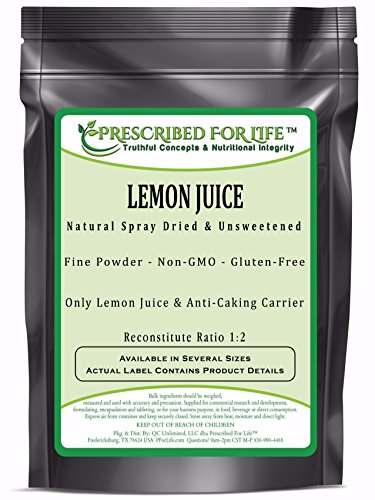 Lemon Juice Powder - Natural Spray Dried & Unsweetened Non-GMO Lemon Juice - Reconstitute Ratio 1:2, 12 oz