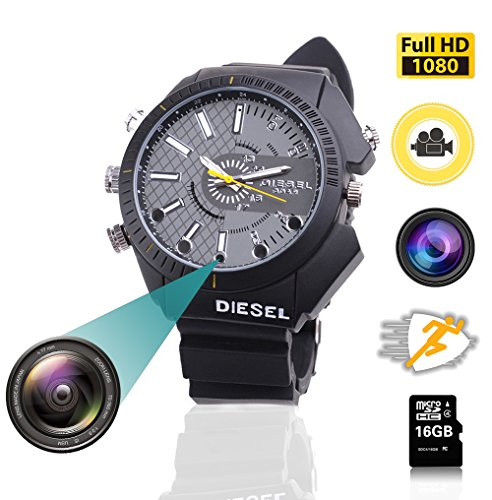 0P 16GB Wrist Smart Watch Camera HD 1080P Infared Night Vision Mini Camera ()