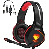 Xbox One Headset, Henscoqi PS4 Headset 3.5mm Over-Ear Bass Surrounding Stereo Gaming Headset with Mic, Noise Isolating and Volume Control for PS4, Xbox One,PC, Nintendo Switch, Smart Phone,Laptop(Red)
