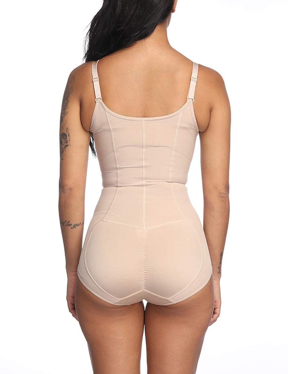 FeelinGirl Womens Shapewear Underwear Waist Butt Lifter Open Bust Shaper Firm Control Lace Crotchless Bodysuit