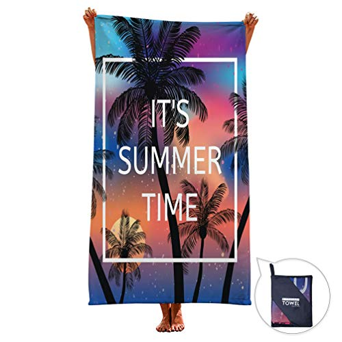 Goodstoworld Microfiber Hawaii Tropical Beach Travel Towel Girls Kids Swim Surfing Fun Palm Tree Graphic Printed Blanket Shower Towels Bath Purple Mat Absorbent 30in X 60in for Swimmers Surfer ()