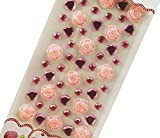 4 Sheets Acrylic Rhinestone Stickers DIY Crafts Stickers, Flowers-3