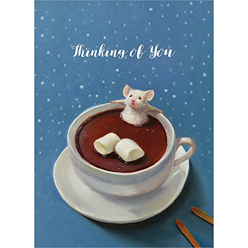 (Tree-Free Greetings Holiday Greeting Cards, Hot Chocolate Mouse Happy Holidays, Vintage Brown Recycled Paper, Boxed Note Card Set, 10-Pack (HB93310))