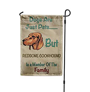 "Bandera de perro con texto en inglés ""Dogs Just Pets But Redbone COONHOUND"""