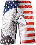Men's American Flags and Eagle Print Swim Trunks Beach Board Shorts with Lining, C201, 3XL