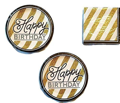 (Black and Gold Happy Birthday Party Bundle Plates (16) Napkins (18) )