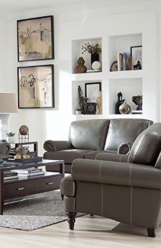 Lazzaro Leather WH-1615-20-3374 Juliette Collection Leather Loveseat, Battleship Grey