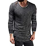 Mens Long Sleeve Blouse, Balakie Solid Slim Fit O Neck Muscle T-Shirt Hole Tops(Dark Gray,L)