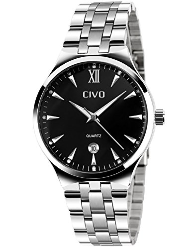 CIVO Men's Luxury Stainless Steel Band Waterproof Business Casual Wrist Watch Date Calendar (Black)