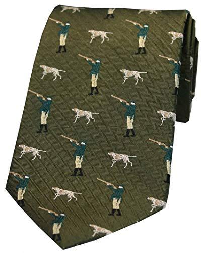 David Van Hagen Mens Hunter and Pointer Dog Country Silk Tie - Green ()