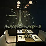 KitMax (TM) Removable Personalized Glow In The Dark I Love Paris Eiffel Tower Nursery Bathroom Kitchen Bedroom Dining Living Room Mirror Office Dorm Home DIY Modern Art Wall Decor Stickers