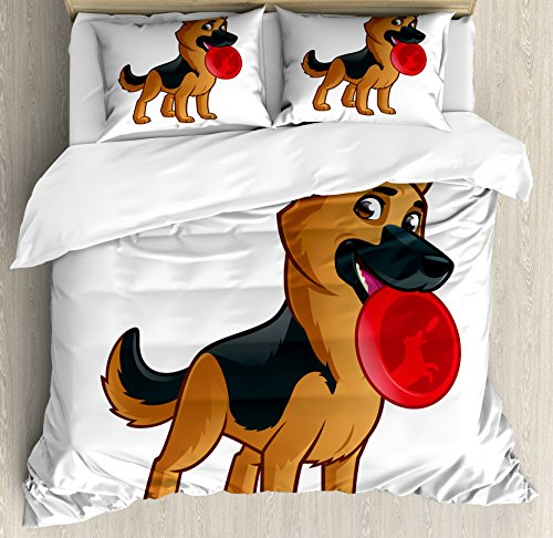 Alsatian Girl (Lunarable German Shepherd King Size Duvet Cover Set, Friendly Dog of Alsatian Breed Playful Cartoon Character for Kids, Decorative 3 Piece Bedding Set with 2 Pillow Shams, Pale Brown Black Red)