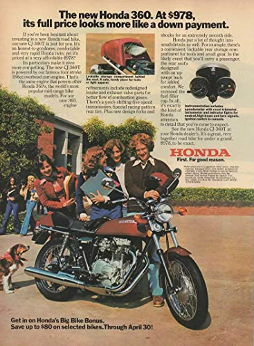 "Magazine Print Ad: 1976 Honda 360 Motorcycle CJ-360T,"" At $978, its full price looks more like a down payment"""