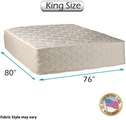 Highlight Luxury Gentle Firm King Size 76 x80 x14 Mattress Only – Fully Assembled – Spinal Back Support, Innerspring Coils, Premium Edge Guards, Longlasting Comfort – by Dream Solutions USA