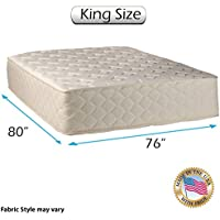 Highlight Luxury Gentle Firm King Size (76x80x14) Mattress Only - Fully Assembled - Spinal Back Support, Innerspring Coils, Premium edge guards, Longlasting Comfort - By Dream Solutions USA