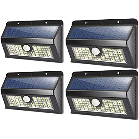 Solar Lights Outdoor 45 LED Silvering Wireless Waterproof Security Lights Solar Motion Sensor Lights Wall Night Lights For Home Driveway Patio Deck Yard Garden Wide Angle Design 4 Pack