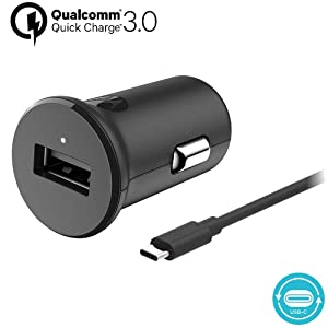 Motorola TurboPower 18 QC3.0 Car Charger w/ 3.3ft SKN6473A USB-C Cable for Moto Z, Z2, Z3, X4, G7, G7 Play, G7 Plus, G6, G6 Plus [NOT for G6 Play] (Retail Box)