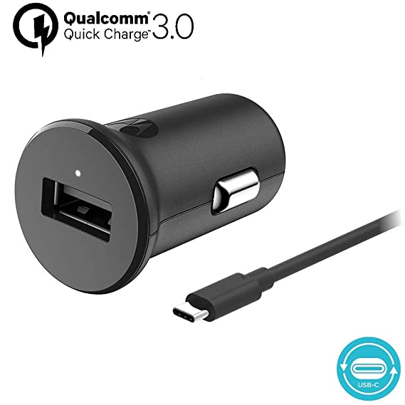 Motorola TurboPower 18 QC3.0 Car Charger w/ 3.3ft SKN6473A USB-C Cable for Moto Z, Z2, Z3, Z4, X4, G7, G7 Play, G7 Plus, G7 Power, G6, G6 Plus [NOT ...