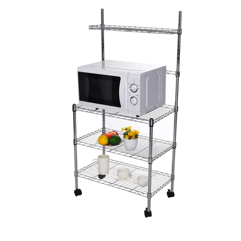 4-Tier Metal Kitchen Bakers Rack Microwave Rack Microwave Oven Stand Kitchen Cart Storage Organizer Shelf w/Adjustable Shelf and Wheels (Silver)