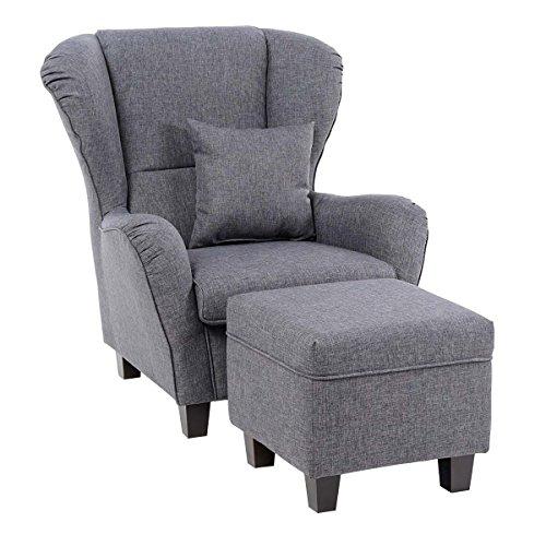 Ohrensessel mit hocker  Sessel Set Ohrensessel mit Hocker - Grau: Amazon.de: Küche & Haushalt