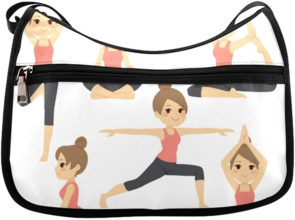 Cute Kids In Different Yoga Poses Messenger Bag Crossbody Bag Large Durable Shoulder School Or Business Bag Oxford Fabric For Mens Womens