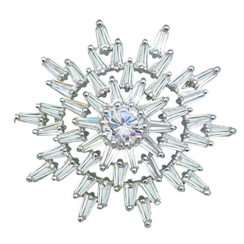 Gemstone Star Brooch (SELOVO Wedding Sparkly Twinkle Star Zircon Crystal Brooch Pin Silver Tone)