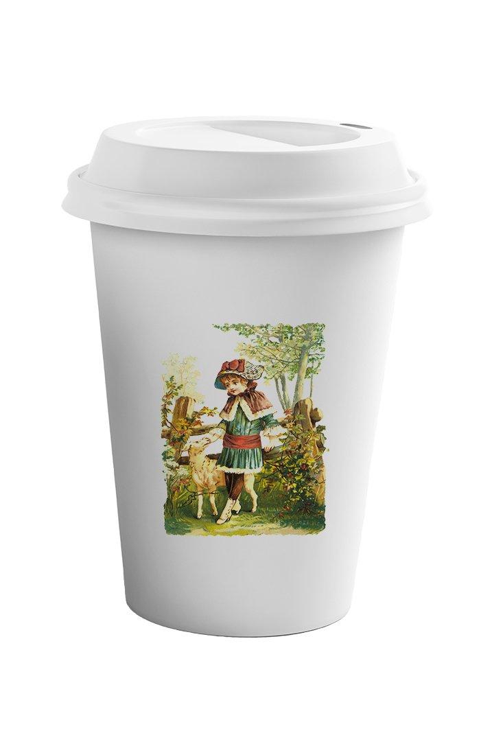 Style In Print Girl Walks With A Goat Pets Animals Coffee Ceramic Travel Tumbler Mug 11oz