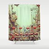 Extra Long Shower Curtain | Chinese Red Lanterns | Custom Shower Curtain | Chinatown San Francisco | Bathroom Accessories | Bathroom Decor