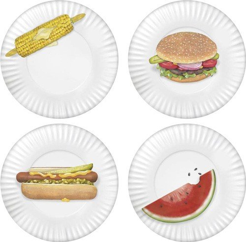 Amazon.com | Mary Lake-Thompson Set of 4 BBQ Plates MZ 1220 PP Dessert Plates Accent Plates  sc 1 st  Amazon.com & Amazon.com | Mary Lake-Thompson Set of 4 BBQ Plates MZ 1220 PP ...
