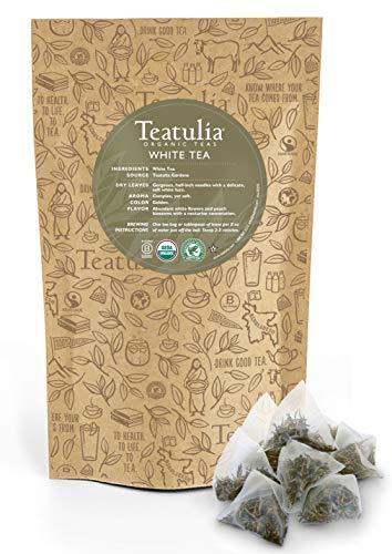 Teatulia Organic White Tea 50ct Premium Pyramid Tea Bags - Brew Hot or Cold Compostable Corn-Silk Bags (Best Organic White Tea)