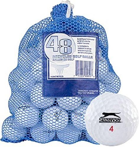 Golf Balls With Logo (Slazenger 48 AAA+ Ball Bag Mix Recycled Golf Balls, White)
