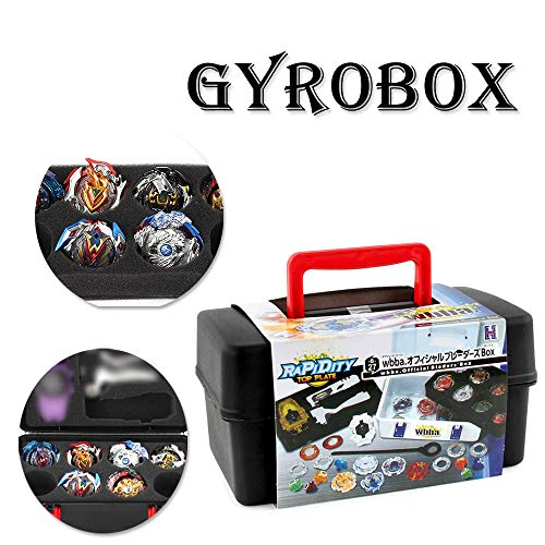 DICPOLIA Toys Black Case,Portable Waterproof/Shockproof/Anti-Fall Box, 8 in 1 Battle Box for Kids, for Beyblade Burst Spinning Top - for Kids Christmas Best Gift (A) -