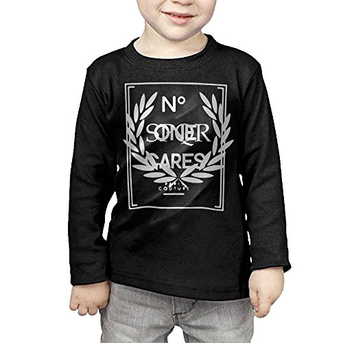 Price comparison product image ZheuO Boys & Girls Baby No One Cares Soft and Cozy 100% Cotton T-Shirts Unisex Black 2 Toddler