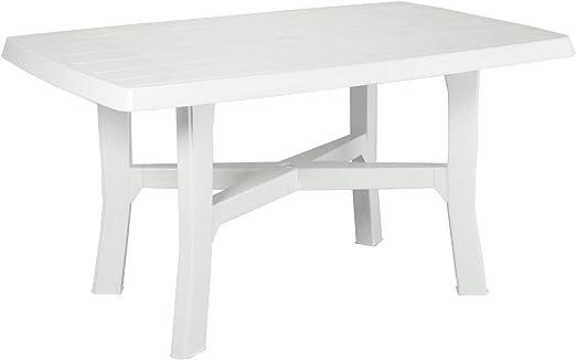 Mesa rectangular Mesa auxiliar de resina de plástico de color blanco para exterior interior: Amazon.es: Jardín