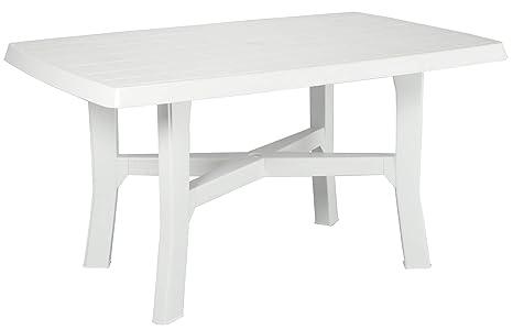 Tavoli Di Plastica Giardino.Tavolo Tavolino Rettangolare In Resina Di Plastica Bianco Per Esterno Interno