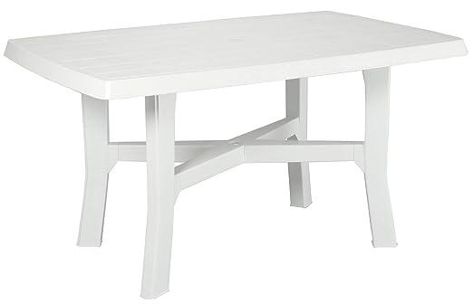 Tavolo Di Plastica Da Esterno.Tavolo Tavolino Rettangolare In Resina Di Plastica Bianco Per