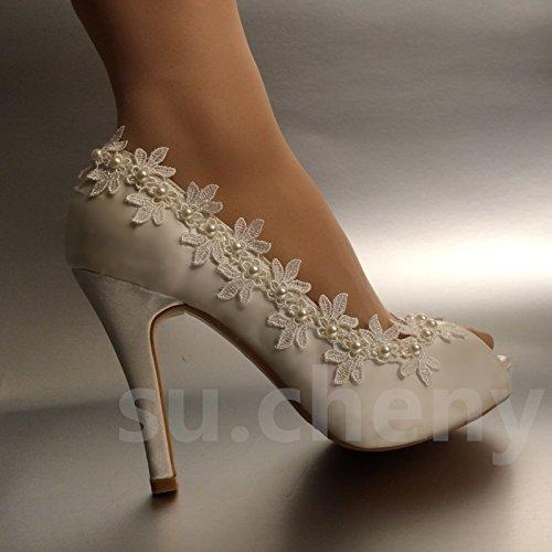 Jingxinstore Perle De Dentelle De Soie À Bout Ouvert Chaussures De Mariage En Cristal Mariée, Uk 6, Blanc