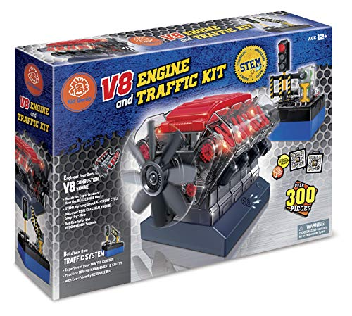 Build Your Own Toys for Boys, Adults & Girls, STEM Toy with Sound Lights V8 Motor Model Engine + Traffic Lights Construction Set w/ 300+ pcs. Hobby Kit Combustion Engine w/DYI Guide. from KidGenio
