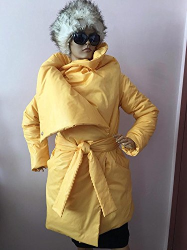 Womens square down coat/ Womens winter jacket/ Puffer atmosphere down overcoat yellow / Quilted down coat