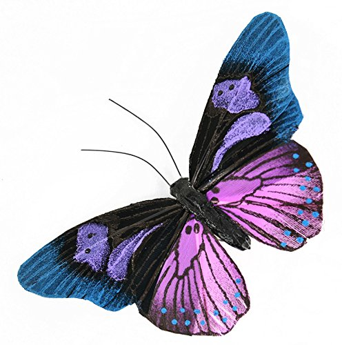 Touch of Nature 1-Piece Feather Butterfly on Clip for Arts and Crafts, 4-Inch, Teal/Mauve/Black