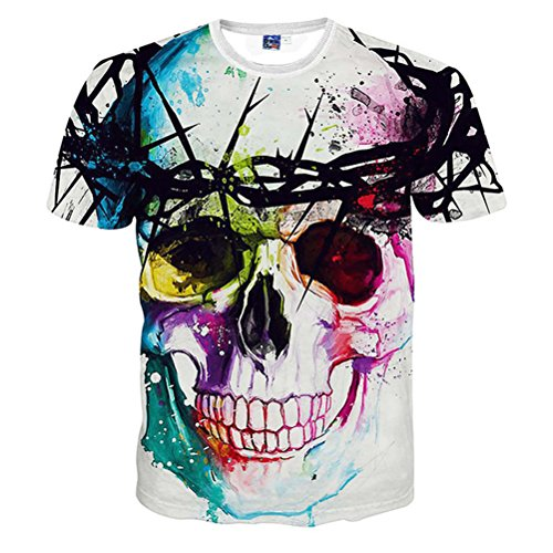 T Shirt Printed Clothing Casual Unisex Funny Tee (XX-large, Flower skull)