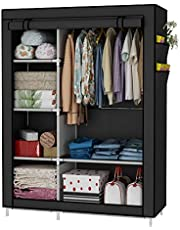 UDEAR Closet Organizer Wardrobe Clothes Storage Shelves, No-Woven Fabric Cover with Side Pockets,41.3 x 17.7 x 66.9 inches,Black