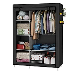 UDEAR Portable Wardrobe Folding Closet Clothes Organizer Shelves for Storage Dust Resistant Black