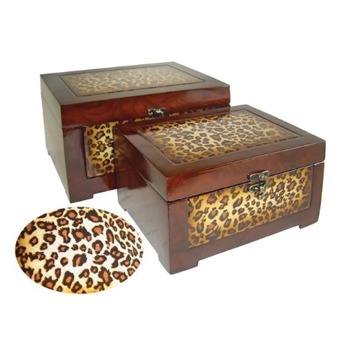 Rattan Chest Treasure (Lined Wooden Box with Latch Hook and Leopard Print (Set of 2))