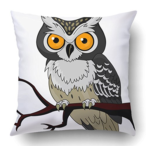 Emvency Throw Pillow Covers Black Cartoon Owl Sitting Upon Tree Branch Animal Bird Beak Claws Clip Clip Dark Polyester 18 X 18 Inch Square Hidden Zipper Decorative Pillowcase -